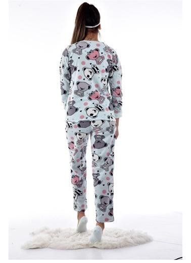 Pemilo Kadın 4120 Desenli Polar Pijama Takımı açık mavi Mavi
